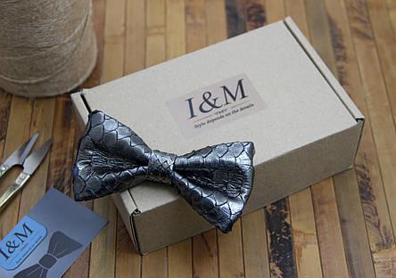 Галстук-бабочка I&M Craft серый из кожи питона (010856S), фото 2
