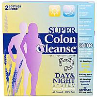 Health Plus Inc., Супер-чистка кишечника, средство для чистки толстого кишечника, курс для дня и ночи, набор из 2 флаконов