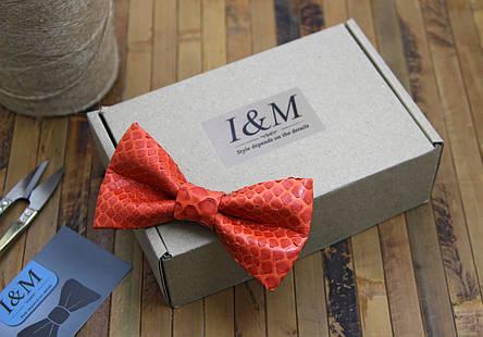 Галстук-бабочка I&M Craft красный из кожи питона (010857S), фото 2