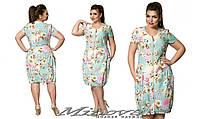Женское ментоловое платье-бочонок больших размеров.  Арт-8068/4