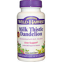 Oregons Wild Harvest, Расторопша пятнистая и одуванчик, 90 вегетарианских капсул без ГМО