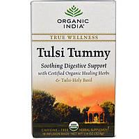 Organic India, Чай с базиликом для нормализации пищеварения, без кофеина, 18 пакетиков для заваривания, 1,14 унции (32,4 г)