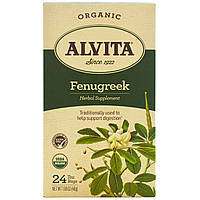 Alvita Teas, Органический чай с пажитником, без кофеина, 24 пакетика, 1,69 унции (48 г)