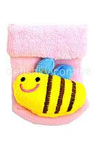 Носки с игрушкой-погремушкой, 0-6 мес пчелка, розовый