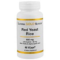California Gold Nutrition, красный ферментированный рис, 600 мг, 60 вегетарианских капсул