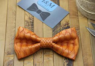 Галстук-бабочка I&M Craft оранжевый из кожи питона (010854S)