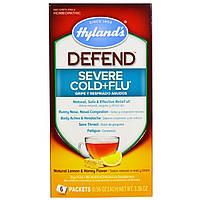 Hylands, Защита, простуда + грипп, вкус натурального лимона и меда, 6 пакетиков, 0,56 унций Каждый