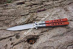 Нож бабочка  с  деревянной рукоятью ,сталь 440с