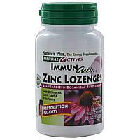 Natures Plus, Травяные активные вещества, Immun Actin, пастилки с цинком со вкусом дикой вишни, 60 пастилок