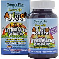 Natures Plus, Источник жизни, Жевательные таблетки для детей для защиты иммунитета со вкусом тропических ягод, 90 животных