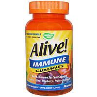 Natures Way, Alive! Жевательные витамины для поддержания иммунитета, со фруктовым вкусом, 90 желейных витаминов