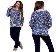 Женский демисезонный повседневный костюм, куртка из принтованного джинса + трикотажные брюки РАСПРОДАЖА