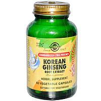 Solgar, Экстракт корня корейского женьшеня, 60 растительных капсул