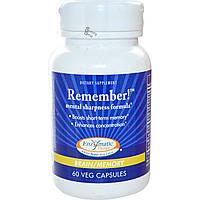 Enzymatic Therapy, Remember!, состав для остроты ума, для мозга и памяти, 60 капсул на растительной основе