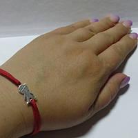 Браслет красный тканевый, детки для мамы, серебро, 170 мм
