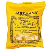 Jakemans, Леденцы от кашля Throat & Chest со вкусом меда и лимона, 30 леденцов