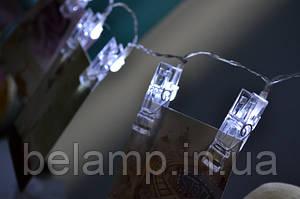 Новинка! Светодиодная гирлянда на батарейках в виде прищепок для фотографий!