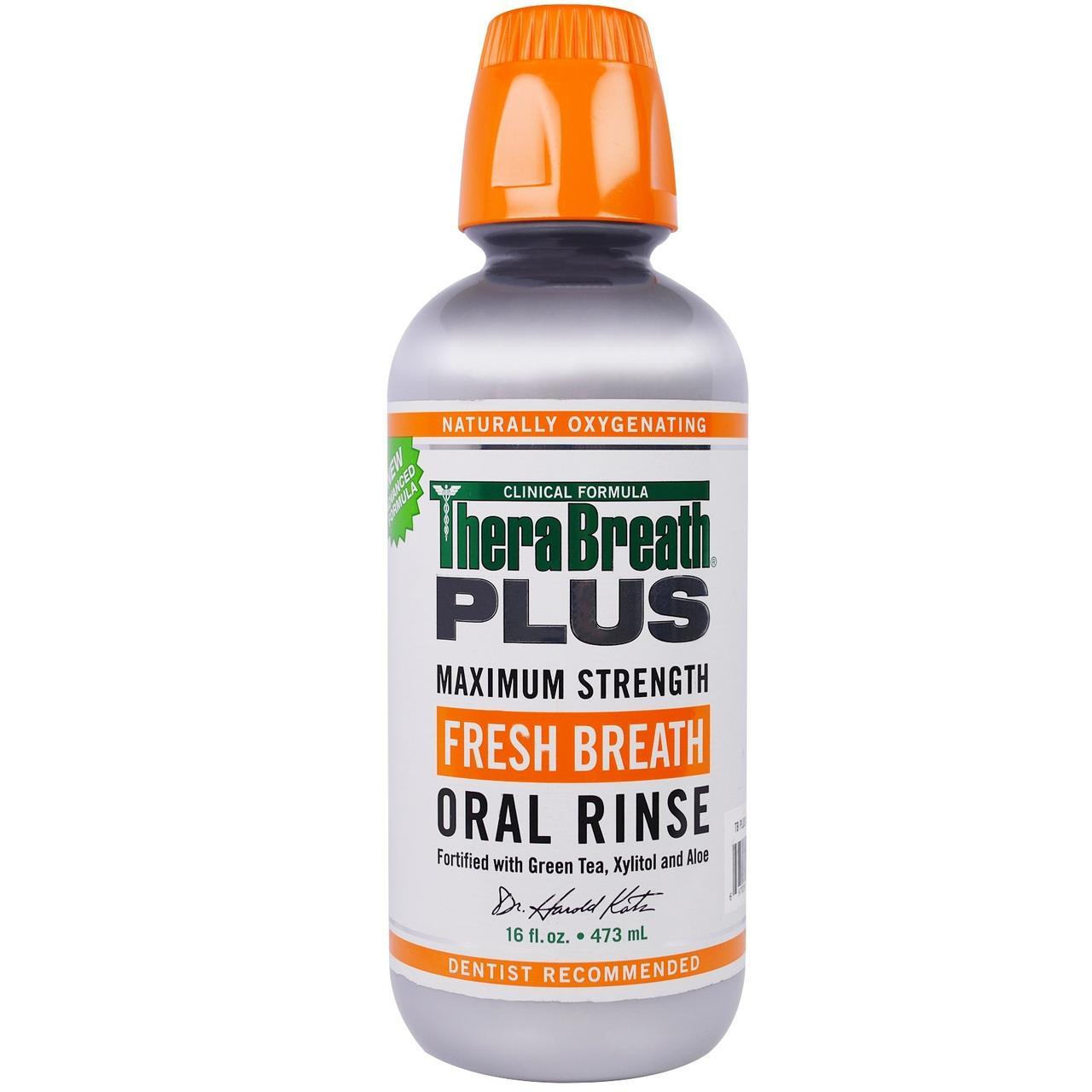 TheraBreath, Ополаскиватель полости рта и освежитель дыхания Plus Maximum Strength, 16 жидких унций (473 мл)