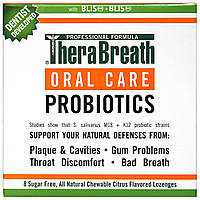 TheraBreath, Уход за полостью рта, Oral Care Probiotics, цитрусовый аромат, 8 пастилок без сахара