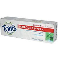 Toms of Maine, Зубная паста без фтора, с прополисом и миррой, мята перечная, 5,5 унции (155,9 г)