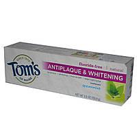 Toms of Maine, Зубная паста для удаления налета и отбеливания зубов, без фтора, Мята, 5,5 унции (155,9 г)