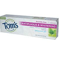 Toms of Maine, Антибактериальная отбеливающая зубная паста без фторида, мятный гель, 4.7 унций (133 г)