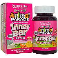 Natures Plus, Source of Life, Парад животных, детское жевательное средство для поддержки внутреннего уха, натуральный вишневый вкус, 90 животных