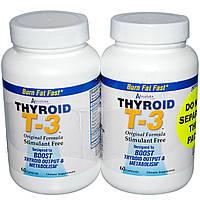 Absolute Nutrition, Щитовидная железа T-3, оригинальная формула, 2 флакона, по 60 капсул в каждом