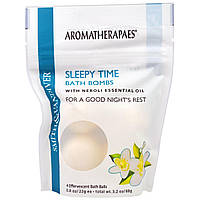 Smith & Vandiver, Бомбочки для ванны перед сном с неролиевым эфирным маслом, 4 шипучих шарика для ванны по 0,8 унции (22 г)