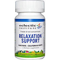 Eclectic Institute, Relaxation Support (снятие стресса), перец опьяняющий (кава-кава) и калифорнийский мак, 350 мг, 45 вегетарианских капсул