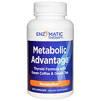 Enzymatic Therapy, Metabolic Advantage, формула для щитовидной железы с зеленым кофе и зеленым чаем, метаболизм, 180 капсул