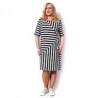 Женское платье большого размера в полоску
