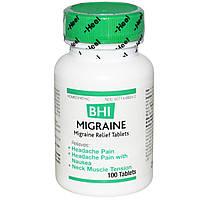 MediNatura, BHI, облегчение при мигрени, 100 таблеток