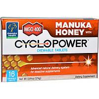 Manuka Health, MGO (оксид магния) 400+, формула на основе манука меда с CycloPower, 16 Жевательных таблеток