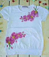 Модная футболка на девочку Нежность белого цвета, фото 1
