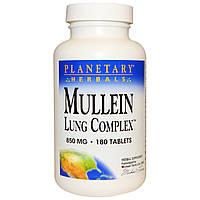 Planetary Herbals, Комплекс для легких с коровяком, 850 мг, 180 таблеток