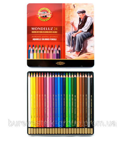 Художественные цветные акварельные карандаши «Mondeluz» Koh-i-Noor 24цв.