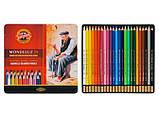 Художественные цветные акварельные карандаши «Mondeluz» Koh-i-Noor 24цв., фото 2