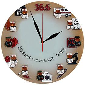 """Настінні годинники """"Медичний годинник"""" скляні кварцові"""
