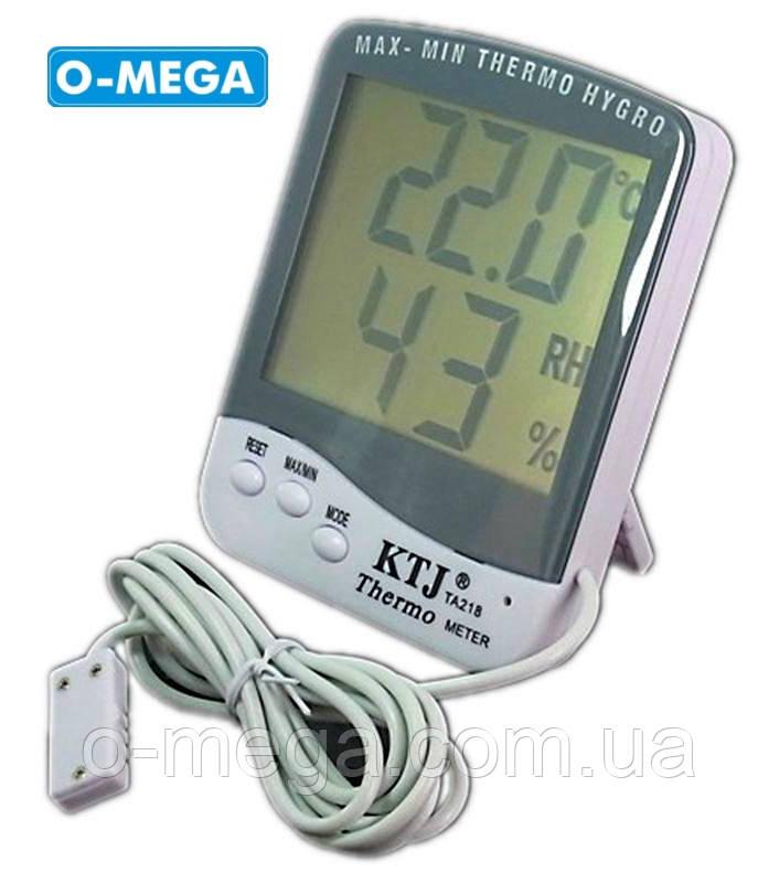 Термогигрометр KTJ Thermo TA218C с выносным проводным датчиком температуры и влажности