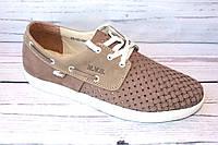 Мужские летние туфли, мокасины, нубук, бежевые