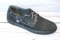 Мужские летние туфли, мокасины, нубук, черные