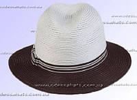Летняя шляпа под мужской стиль тулья белая поля коричневые