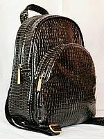 Молодежный женский  рюкзак из лаковой искуственной кожи/черный