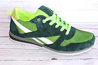 Мужские кроссовки на лето, замша+сетка, Л21, салатовые