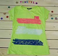 Модная футболка на девочку Лето  салатовая   рост 128-164
