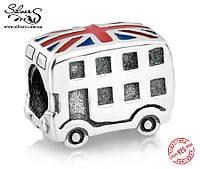 """Серебряная подвеска-шарм Пандора (Pandora) """"Британский автобус"""" для браслета"""