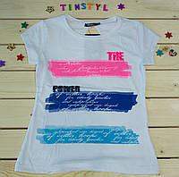 Модная футболка на девочку Лето  белая   рост 128-164