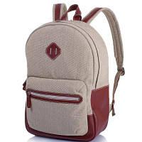 Рюкзак текстильный с кожаными вставками и карманом для ноутбука VALENTA (ВАЛЕНТА) VBM70582710