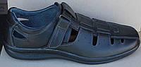 Босоножки мужские великаны черные кожаные, кожаная обувь мужская 46-49 от производителя модель ВА10 - С2В